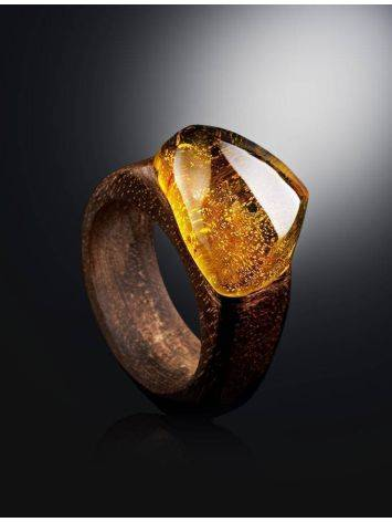 Ethnic Wooden Amber Ring The Indonesia, Ring Size: 7 / 17.5, image , picture 2