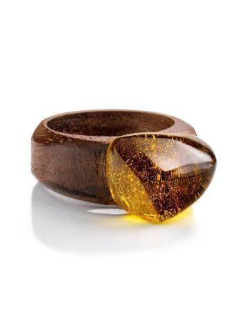 Ethnic Wooden Amber Ring The Indonesia, Ring Size: 7 / 17.5, image , picture 3
