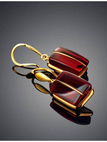 Golden Fish Hook Earrings With Bold Cherry Amber The Sangria, image , picture 2