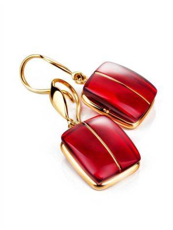 Bold Golden Fish Hook Earrings With Cherry Amber The Sangria, image , picture 3