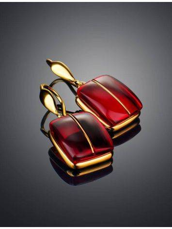 Bold Golden Fish Hook Earrings With Cherry Amber The Sangria, image , picture 2