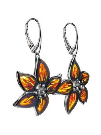 Sterling Silver Flower Dangles With Amber The Meadow, image , picture 3