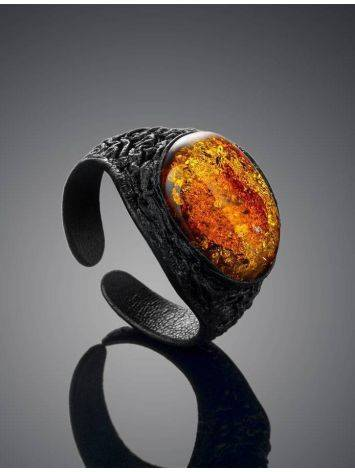 Black Leather Amber Adjustable Ring The Nefertiti, Ring Size: Adjustable, image , picture 2