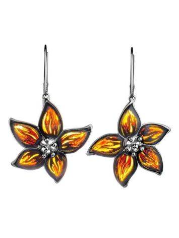 Sterling Silver Flower Dangles With Amber The Meadow, image