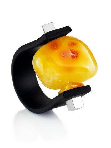 Unisex Rubber Ring With Organic Cut Amber The Grunge, Ring Size: / 23, image