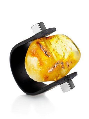 Unisex Rubber Ring With Genuine Amber The Grunge, Ring Size: / 23, image