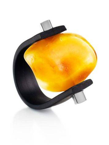 One Size Unisex Ring With Natural Cut Amber The Grunge, Ring Size: / 23, image
