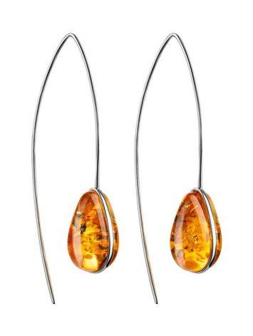 Silver Hook Earrings With Lemon Amber The Pulse, image