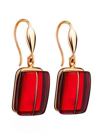 Golden Fish Hook Earrings With Bold Cherry Amber The Sangria, image