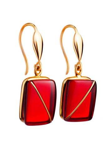 Bright Amber Fish Hooks Earrings In Gold The Sangria, image