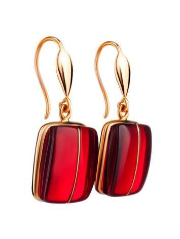 Bold Golden Fish Hook Earrings With Cherry Amber The Sangria, image