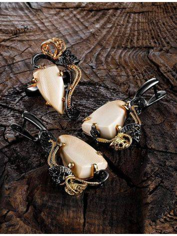 Voluptuous Gold-Plated Dangle Earrings With Mammoth Ivory The Era, image , picture 4