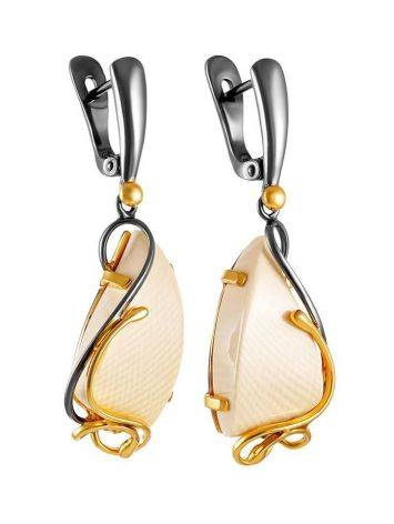 Flashy Gold-Plated Drop Earrings With Mammoth Tusk The Era, image , picture 3