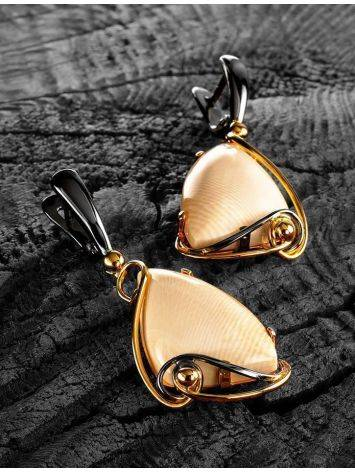Elegant Gold-Plated Dangles With Genuine Mammoth Ivory The Era, image , picture 2
