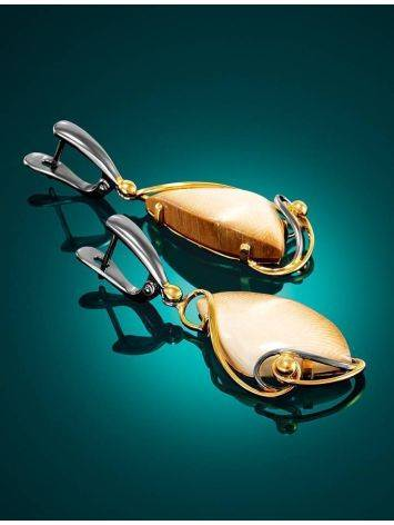 Stunning Gold-Plated Drop Earrings With Genuine Mammoth Ivory The Era, image , picture 2