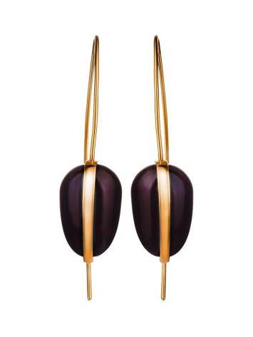 Gold Plated Hook Earrings With Cherry Amber The Pulse, image , picture 3