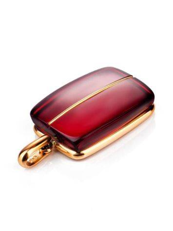 Bright Red Amber Pendant In Gold The Sangria, image , picture 4