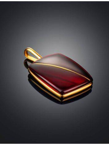 Bright Red Amber Pendant In Gold The Sangria, image , picture 2