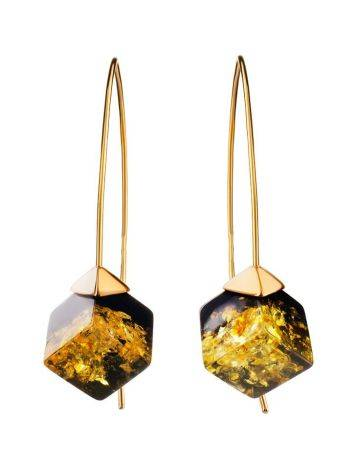 Gold-Plated Earrings With Green Amber The Sugar, image , picture 4