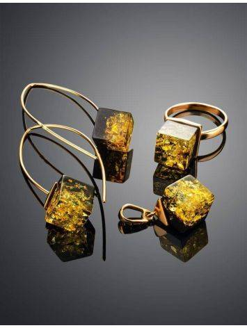 Gold-Plated Earrings With Green Amber The Sugar, image , picture 5