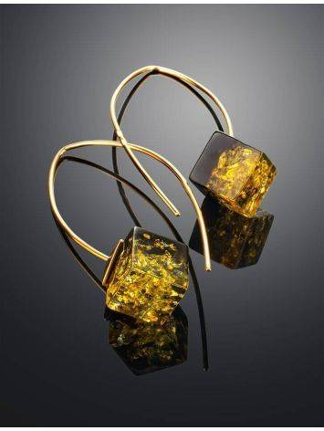 Gold-Plated Earrings With Green Amber The Sugar, image , picture 2