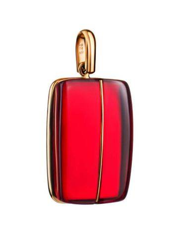 Bright Red Amber Pendant In Gold The Sangria, image
