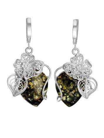 Unique Sterling Silver Floral Earrings With Sparkling Green Amber The Dew, image