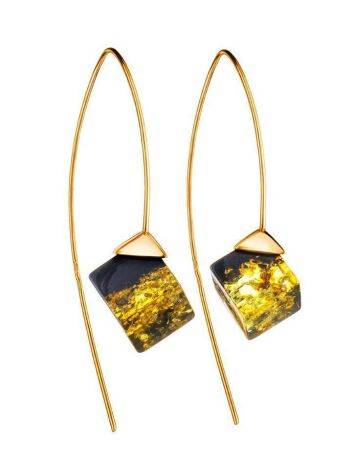 Gold-Plated Earrings With Green Amber The Sugar, image