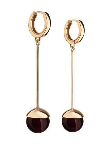 Gold-Plated Dangle Earrings With Cherry Amber The Paris, image