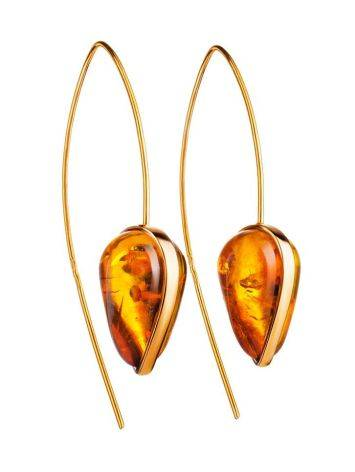 Gold Plated Hook Earrings With Cognac Amber The Pulse, image