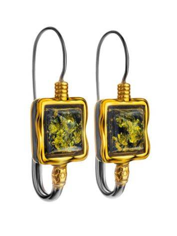 Gold-Plated French Back Earrings With Green Amber The Aida, image