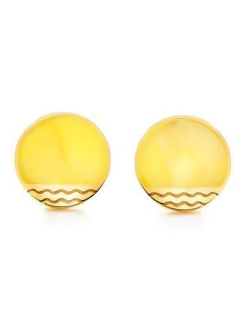 Round Gold Plated Studs With Honey Amber The Monaco, image