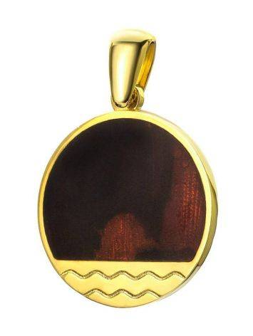 Flat Round Amber Pendant In Gold-Plated Silver The Monaco, image