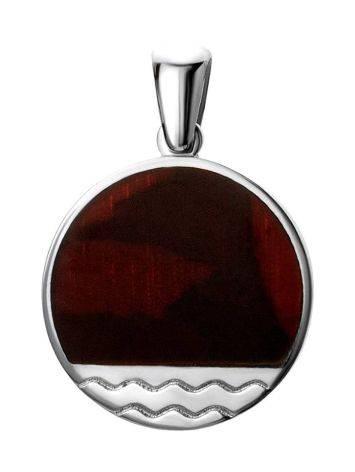 Round Silver Pendant With Cherry Amber The Monaco, image