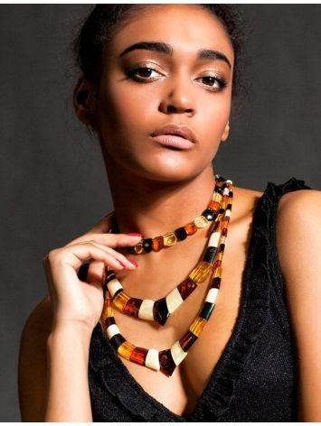 Multicolor Faceted Amber Necklace The Cleopatra, image , picture 7