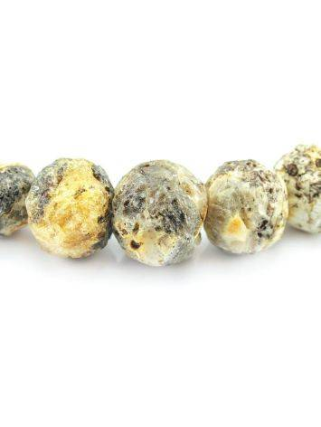 White Amber Ball Beaded Necklace The Meteor, image , picture 2