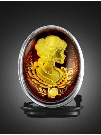 Cherry Amber Brooch With Intaglio The Nymph, image , picture 2