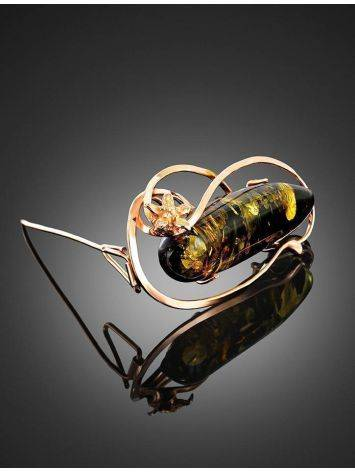 Green Amber Brooch In Gold Plated Silver The Rialto, image , picture 3