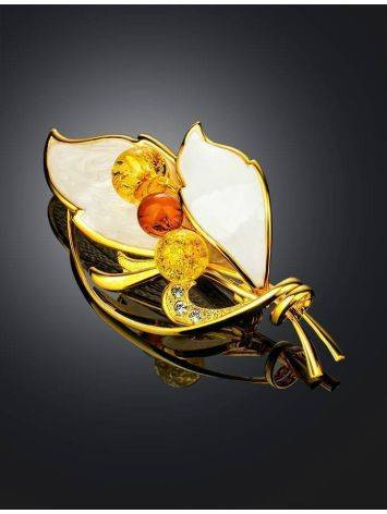 Gold Plated Floral Brooch With Amber And Enamel The Beoluna, image , picture 2