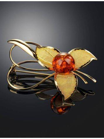 Amber Floral Brooch In Gold Plated Silver The Beoluna, image , picture 2