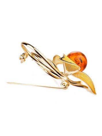 Amber Floral Brooch In Gold Plated Silver The Beoluna, image , picture 3