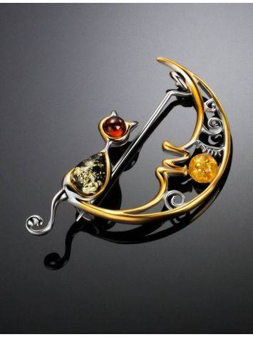 Designer Gold-Plated Brooch With Multicolor Amber The Lullaby, image , picture 2