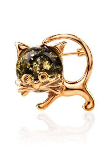 Amber Kitty Brooch In Gold Plated Silver The Fairytale, image