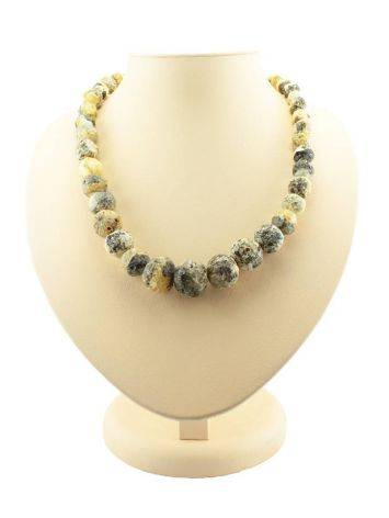 White Amber Ball Beaded Necklace The Meteor, image