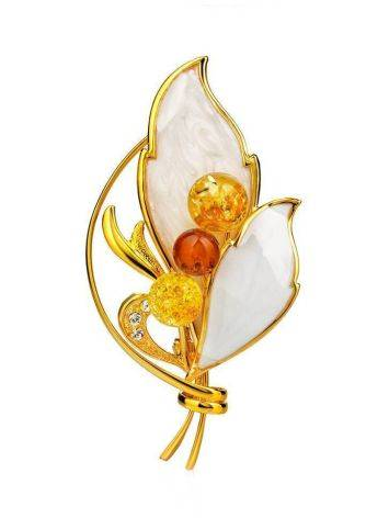 Gold Plated Floral Brooch With Amber And Enamel The Beoluna, image