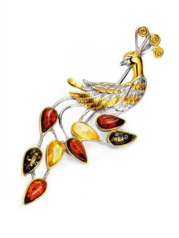 Multicolor Amber Brooch In Gold Plated Silver The Peacock, image
