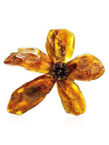 Raw Amber Floral Brooch The Volcano, image