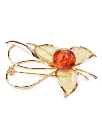 Amber Floral Brooch In Gold Plated Silver The Beoluna, image
