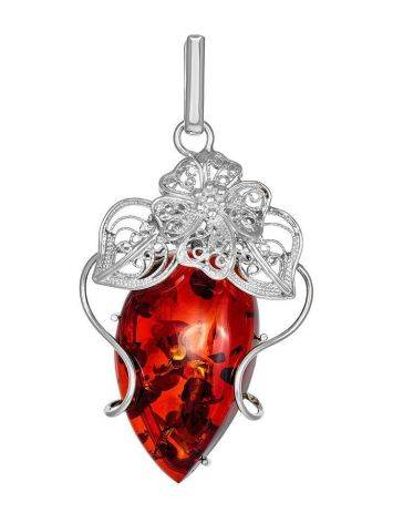 Handcrafted Silver Pendant With Polished Cognac Amber Stone The Dew, image