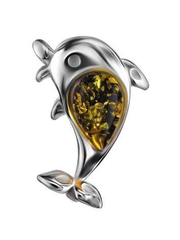 Silver Dolphin Pendant With Green Amber, image